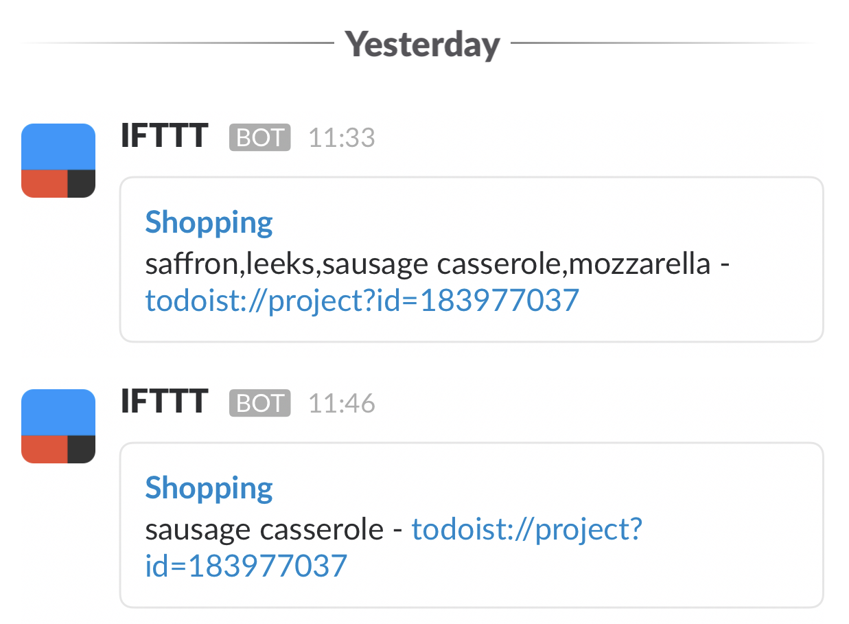 Shopping List in Slack